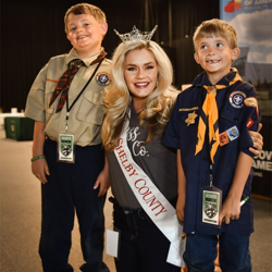 Miss Shelby County Aria Stiles met with Scouts during Scouts Rock at Graceland.