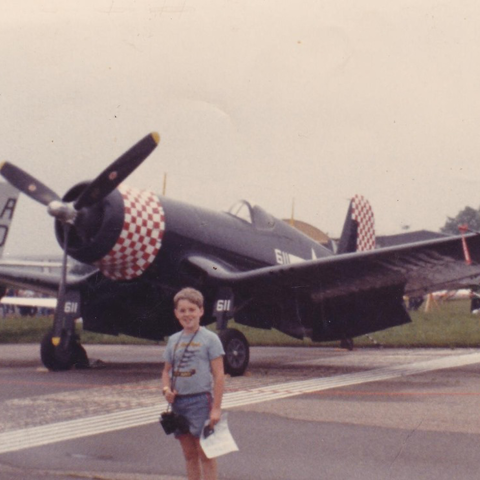 Darrik Thompson in front of Corsair, 1985