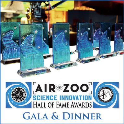 Air Zoo Science Innovation Hall of Fame Award Trophies