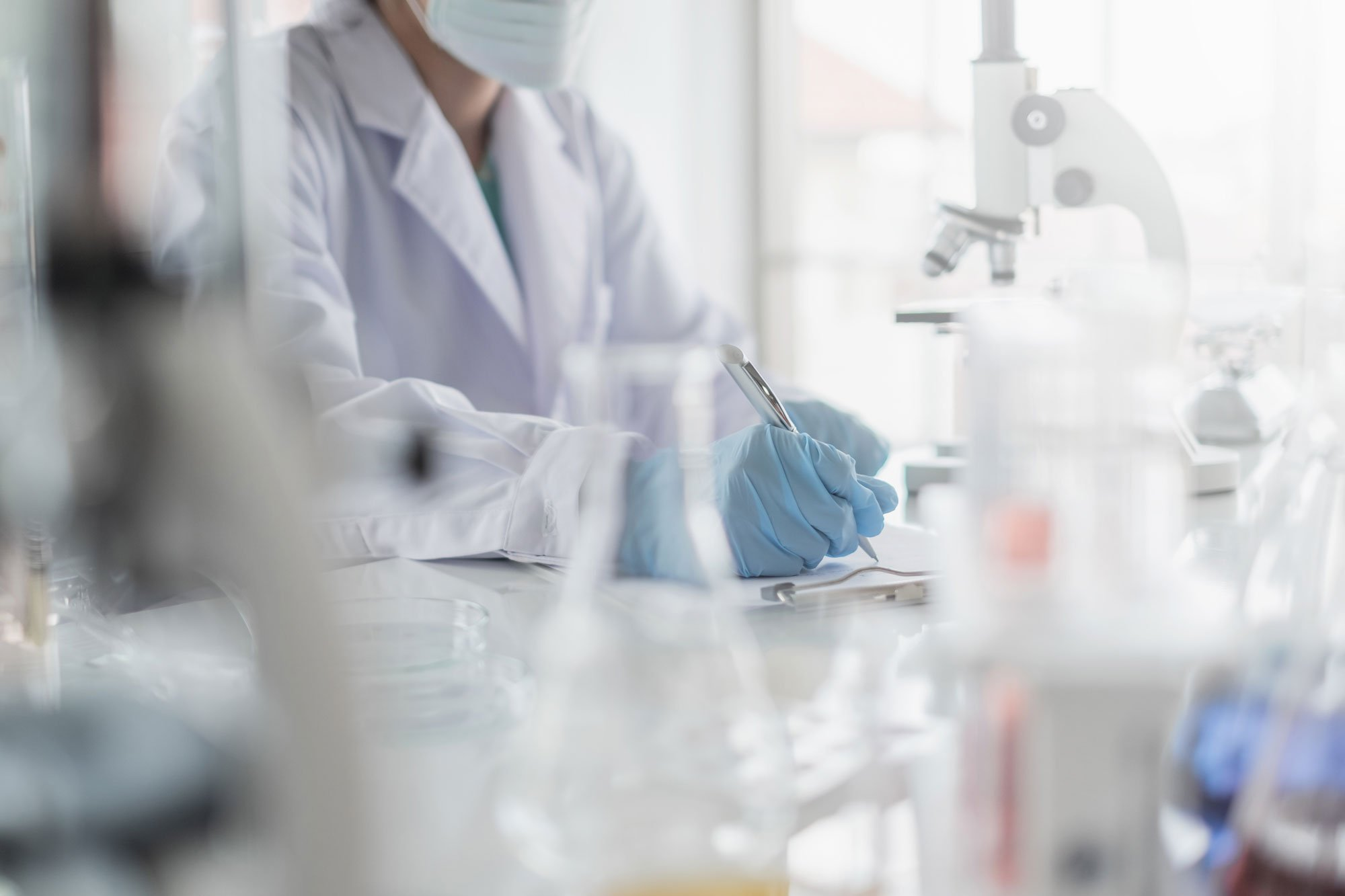 Doctor performing lab tests