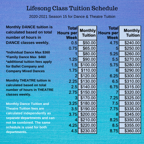Lifesong Class Tuition Schedule for Dance and Theatre