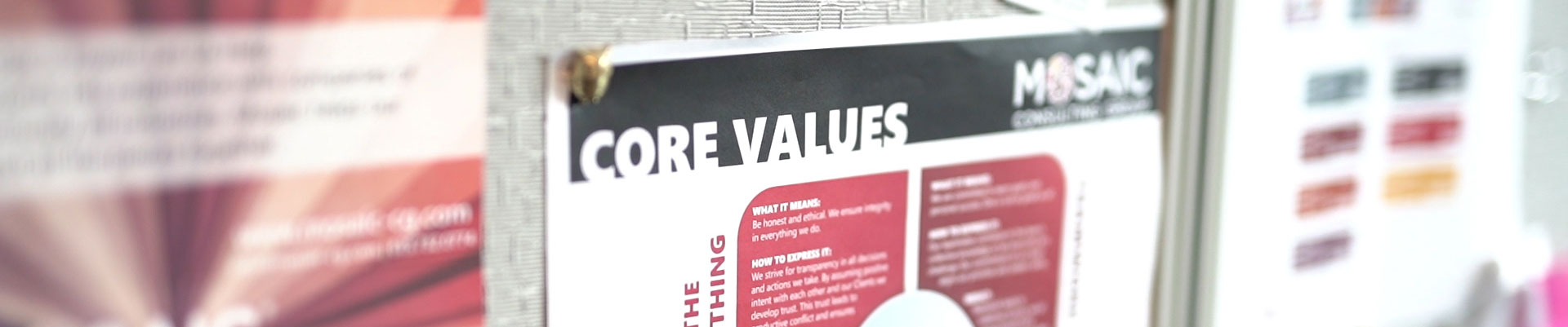Clip Board that says Core Values