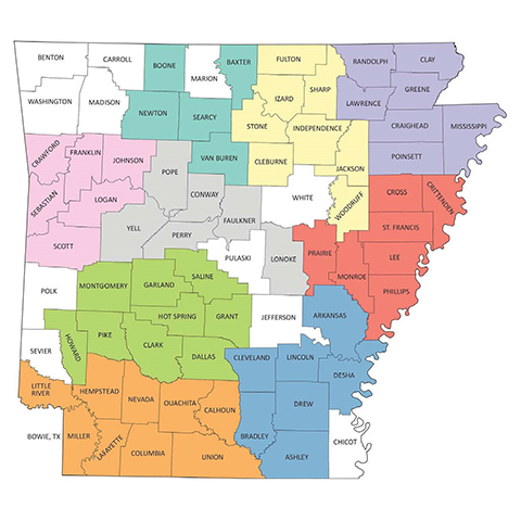 Map of Arkansas with geographical regions
