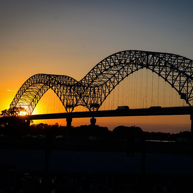 Memphis bridge at sunset