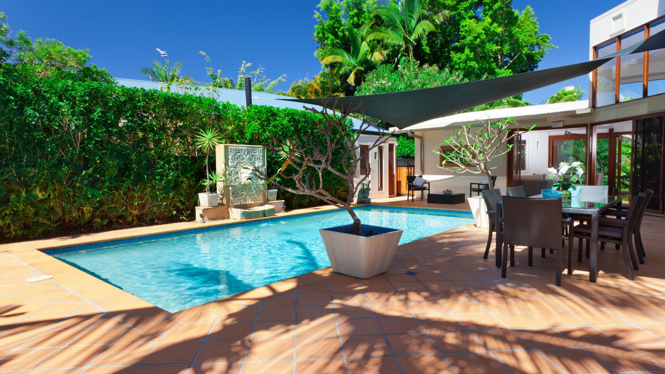 beautiful backyard with a pool