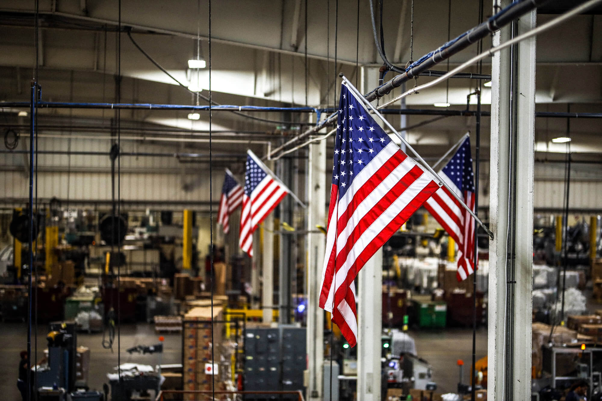 American Flags in Warehouse
