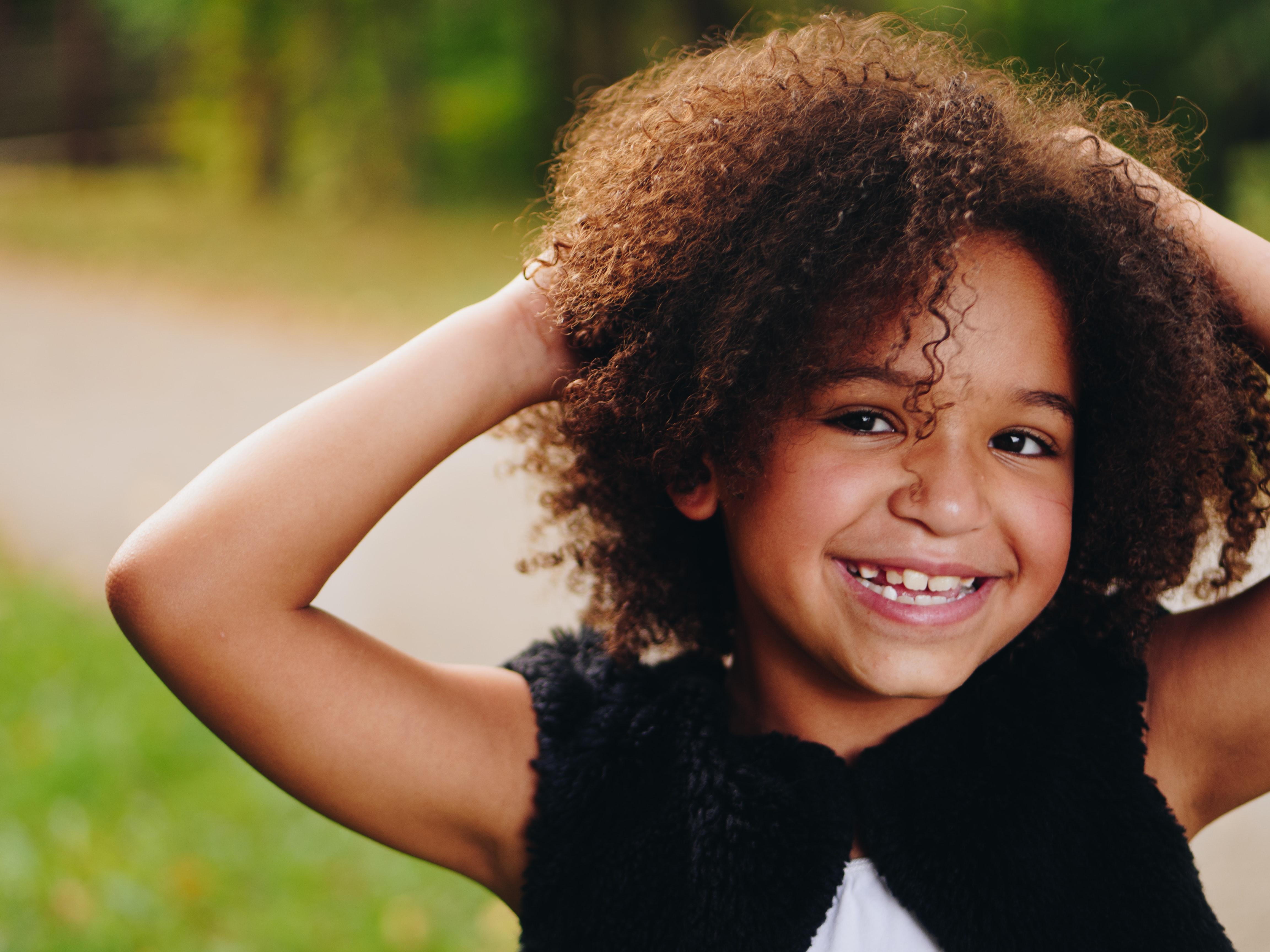 happy black girl smiling