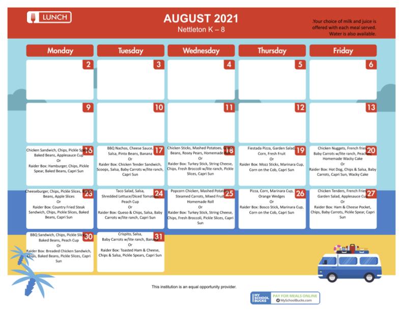 August 2021 K-8 Lunch