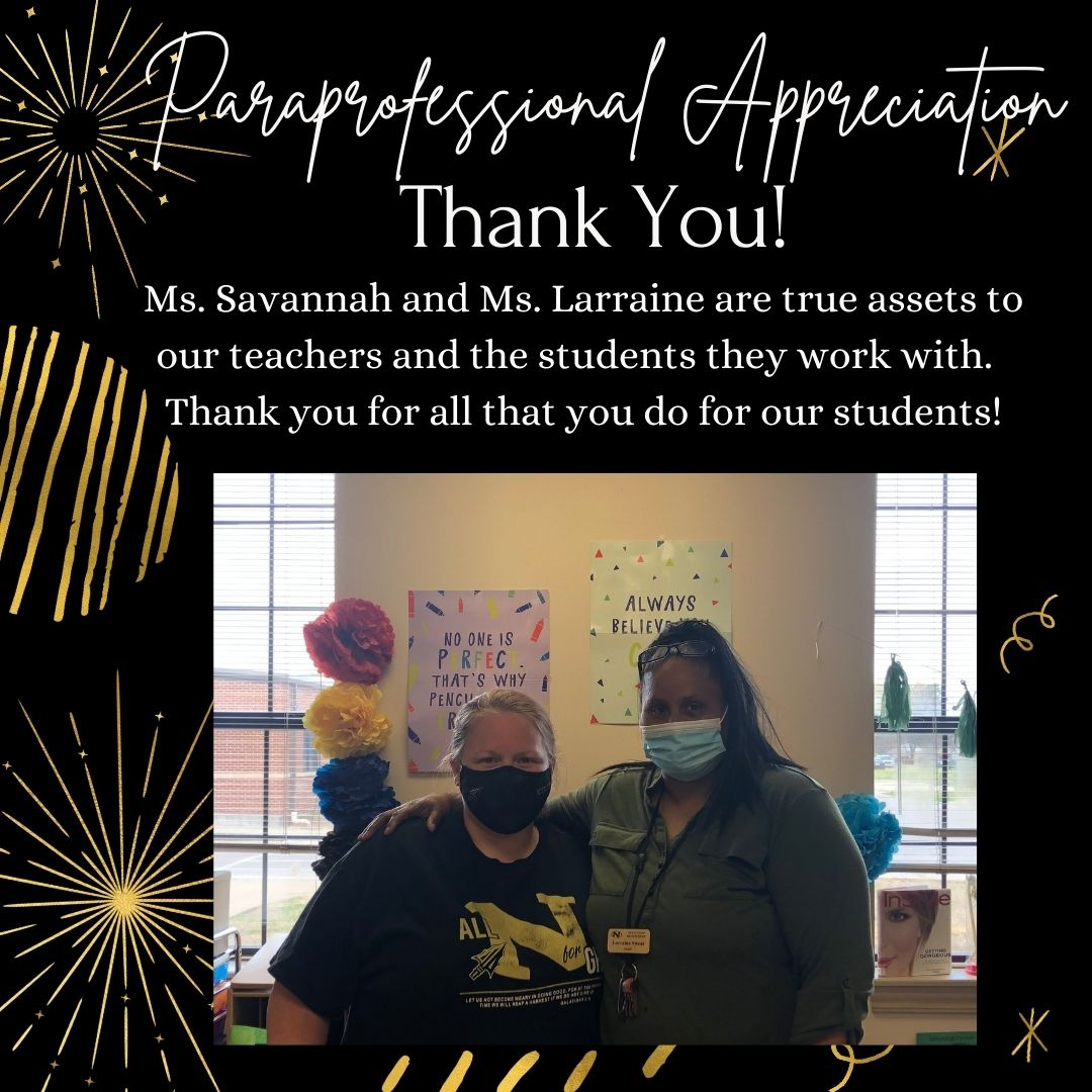 Graphic showcasing Ms. Larraine and Ms. Savannah and thanking them