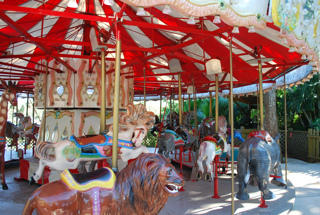 Carousel animals and tent.