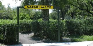 Entrance to a hedge maze.
