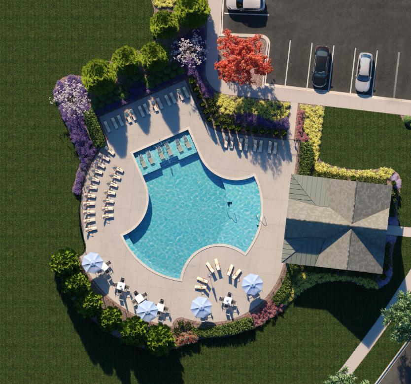 Birds-eye view of pool